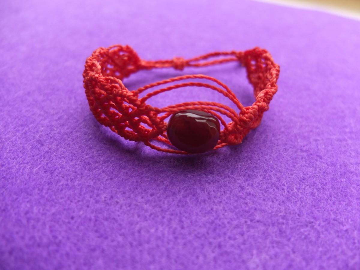 photo agate Amérique du sud macramé pierres naturelles rouge