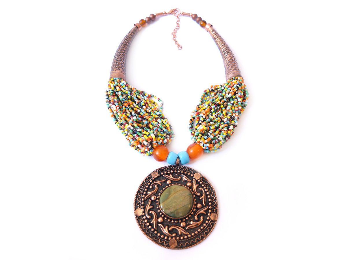 photo agate cuivre Inde perles de couleurs