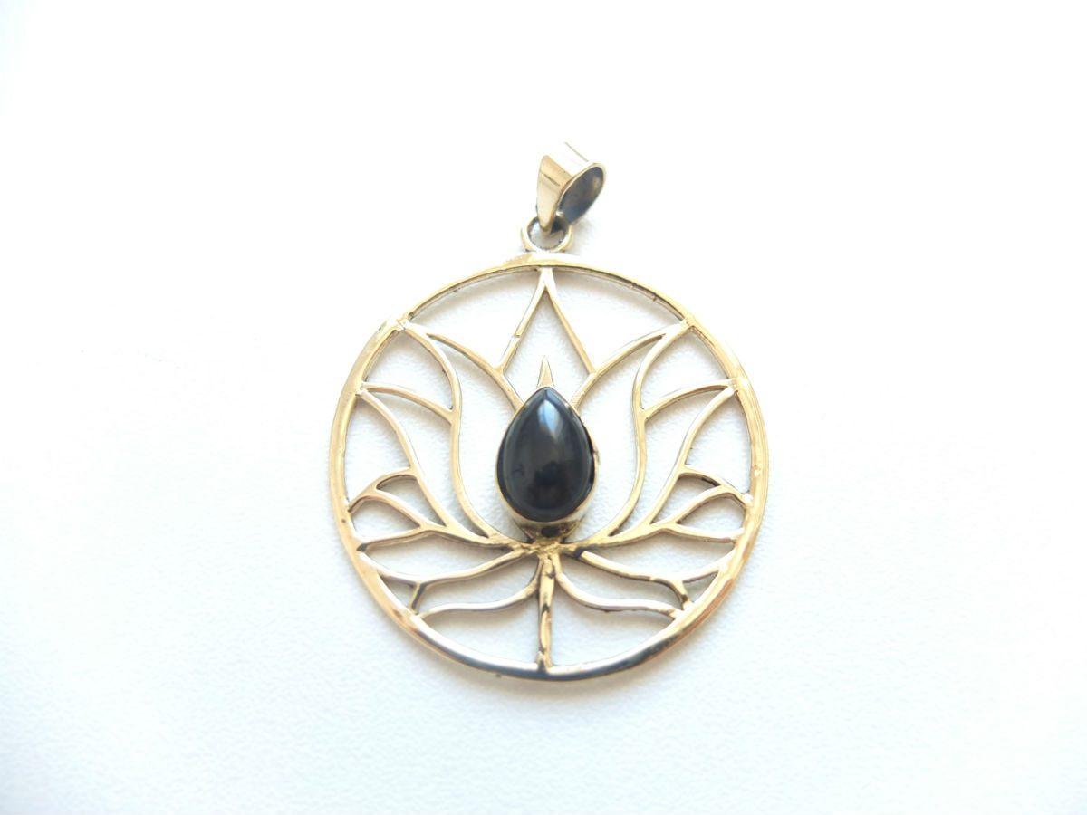 photo bronze fleur de lotus Inde obsidienne pierres naturelles